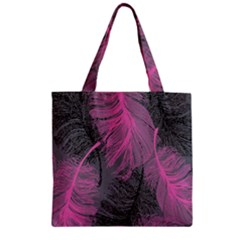 Feathers Quill Pink Grey Zipper Grocery Tote Bag