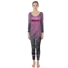 Feathers Quill Pink Grey Long Sleeve Catsuit