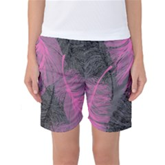 Feathers Quill Pink Grey Women s Basketball Shorts