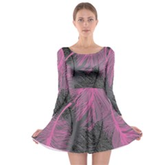 Feathers Quill Pink Grey Long Sleeve Skater Dress