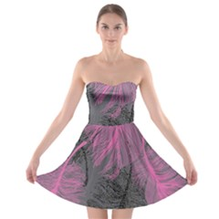 Feathers Quill Pink Grey Strapless Bra Top Dress