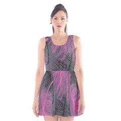Feathers Quill Pink Grey Scoop Neck Skater Dress