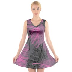 Feathers Quill Pink Grey V-Neck Sleeveless Skater Dress