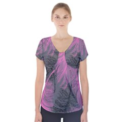 Feathers Quill Pink Grey Short Sleeve Front Detail Top