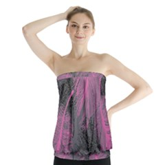 Feathers Quill Pink Grey Strapless Top