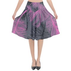 Feathers Quill Pink Grey Flared Midi Skirt