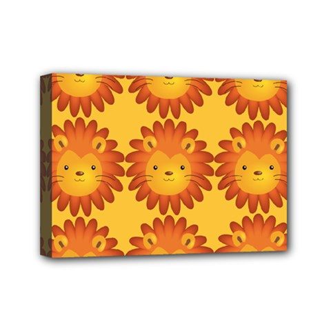 Cute Lion Face Orange Yellow Animals Mini Canvas 7  x 5