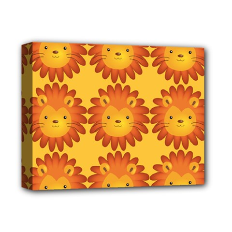 Cute Lion Face Orange Yellow Animals Deluxe Canvas 14  x 11