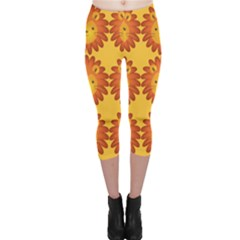 Cute Lion Face Orange Yellow Animals Capri Leggings