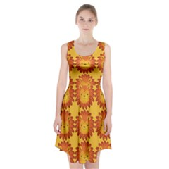 Cute Lion Face Orange Yellow Animals Racerback Midi Dress