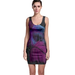Feathers Quill Pink Black Blue Sleeveless Bodycon Dress