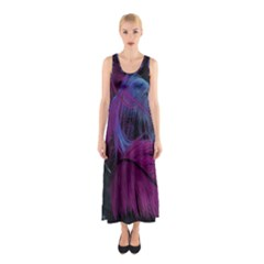 Feathers Quill Pink Black Blue Sleeveless Maxi Dress