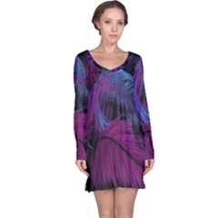 Feathers Quill Pink Black Blue Long Sleeve Nightdress