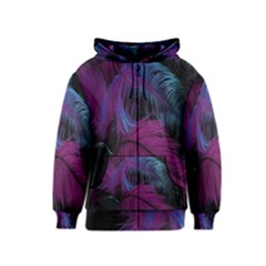 Feathers Quill Pink Black Blue Kids  Zipper Hoodie