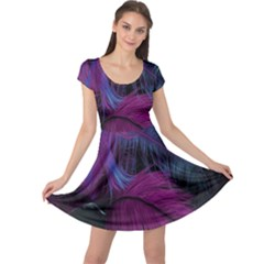 Feathers Quill Pink Black Blue Cap Sleeve Dresses