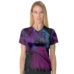 Feathers Quill Pink Black Blue Women s V Neck Sport Mesh Tee