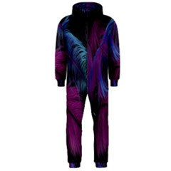 Feathers Quill Pink Black Blue Hooded Jumpsuit (Men)