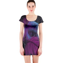 Feathers Quill Pink Black Blue Short Sleeve Bodycon Dress