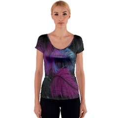 Feathers Quill Pink Black Blue Women s V-Neck Cap Sleeve Top