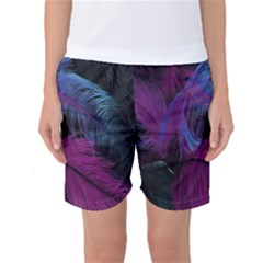 Feathers Quill Pink Black Blue Women s Basketball Shorts