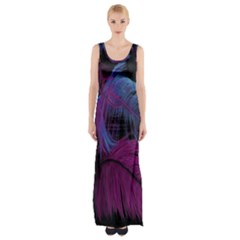 Feathers Quill Pink Black Blue Maxi Thigh Split Dress