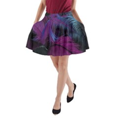 Feathers Quill Pink Black Blue A-Line Pocket Skirt