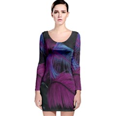 Feathers Quill Pink Black Blue Long Sleeve Velvet Bodycon Dress