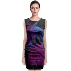 Feathers Quill Pink Black Blue Classic Sleeveless Midi Dress