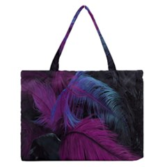 Feathers Quill Pink Black Blue Medium Zipper Tote Bag