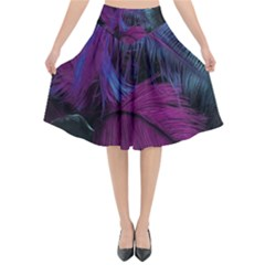 Feathers Quill Pink Black Blue Flared Midi Skirt