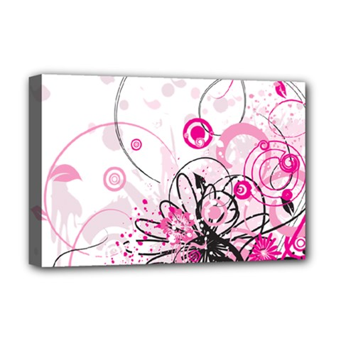 Wreaths Frame Flower Floral Pink Black Deluxe Canvas 18  x 12
