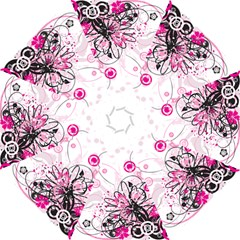Wreaths Frame Flower Floral Pink Black Hook Handle Umbrellas (Large)