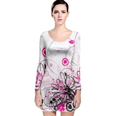 Wreaths Frame Flower Floral Pink Black Long Sleeve Bodycon Dress