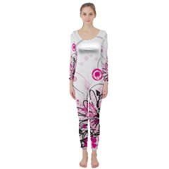 Wreaths Frame Flower Floral Pink Black Long Sleeve Catsuit