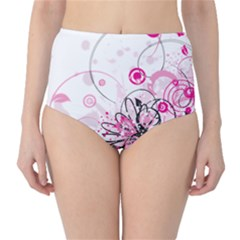 Wreaths Frame Flower Floral Pink Black High-Waist Bikini Bottoms