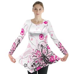 Wreaths Frame Flower Floral Pink Black Long Sleeve Tunic