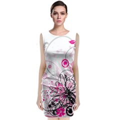 Wreaths Frame Flower Floral Pink Black Classic Sleeveless Midi Dress