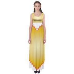 Heart Rhythm Gold Red Empire Waist Maxi Dress
