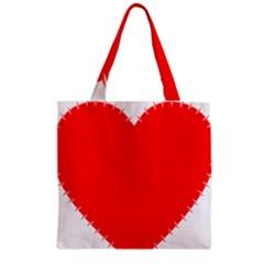 Heart Rhythm Inner Red Zipper Grocery Tote Bag
