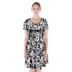 Deskjet Ink Splatter Black Spot Short Sleeve V-neck Flare Dress