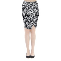 Deskjet Ink Splatter Black Spot Midi Wrap Pencil Skirt
