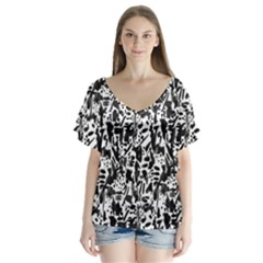 Deskjet Ink Splatter Black Spot Flutter Sleeve Top