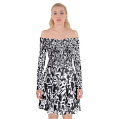 Deskjet Ink Splatter Black Spot Off Shoulder Skater Dress