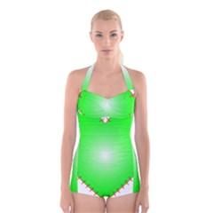 Heart Rhythm Inner Green Red Boyleg Halter Swimsuit