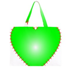 Heart Rhythm Inner Green Red Large Tote Bag