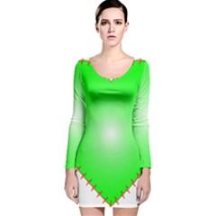 Heart Rhythm Inner Green Red Long Sleeve Velvet Bodycon Dress
