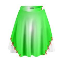 Heart Rhythm Inner Green Red High Waist Skirt