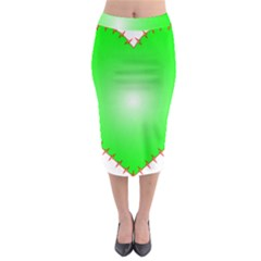 Heart Rhythm Inner Green Red Midi Pencil Skirt