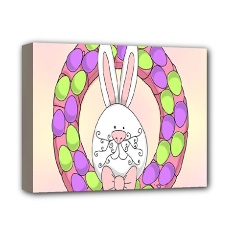 Make An Easter Egg Wreath Rabbit Face Cute Pink White Deluxe Canvas 14  X 11