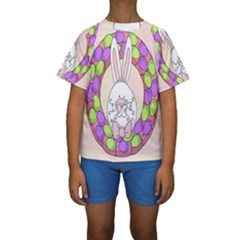 Make An Easter Egg Wreath Rabbit Face Cute Pink White Kids  Short Sleeve Swimwear
